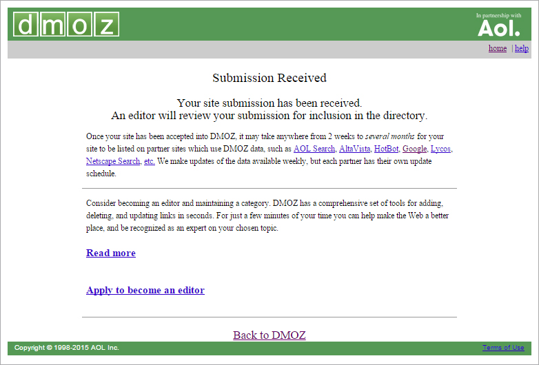 How to get listed in DMOZ directory?