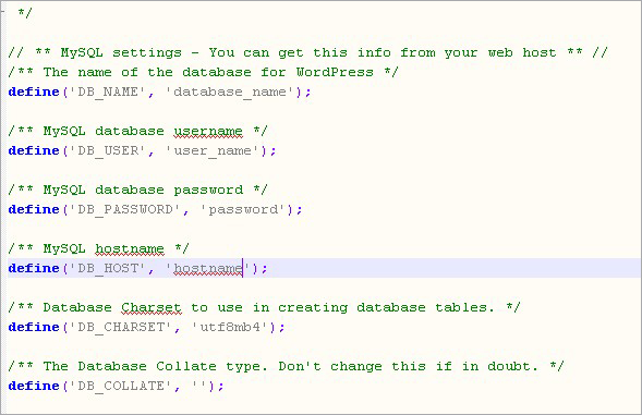 database name, database username and hostname