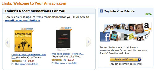 5. Turn your home page into recommendation page for returning customers
