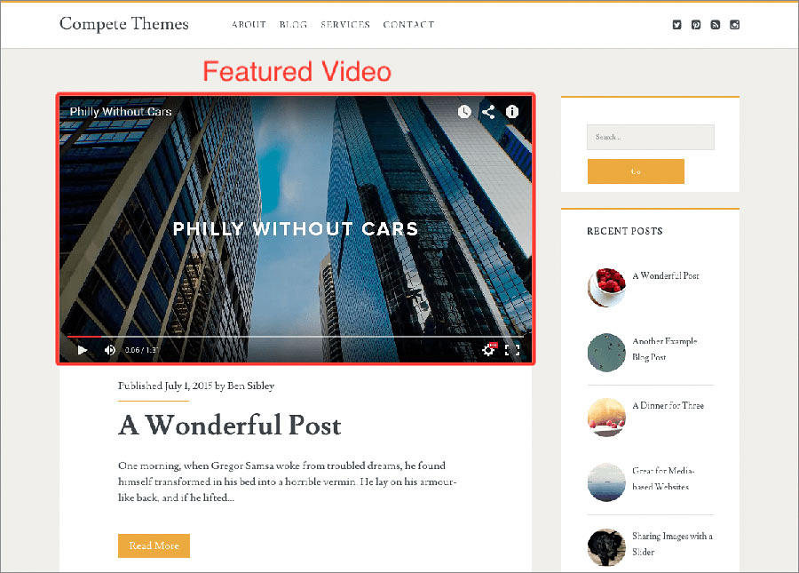 A featured video that gives the gist of your website offering in 60 seconds or less